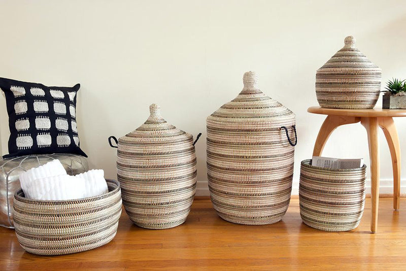 Swahili African Modern Black, Silver and White Striped Knitting Basket Made Trade