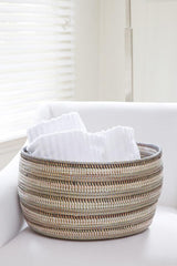 Swahili African Modern Black, Silver and White Striped Knitting Basket Made Trade -14634690117695