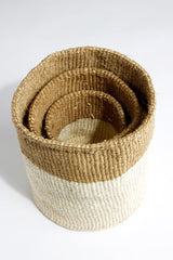 Swahili African Modern Dual Tone Sisal Baskets - Set of 3 Swahili African Modern -14999756046399