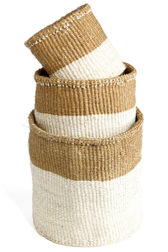 Swahili African Modern Dual Tone Sisal Baskets - Set of 3 Swahili African Modern