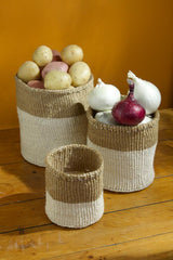Swahili African Modern Dual Tone Sisal Baskets - Set of 3 Swahili African Modern -14999738351679