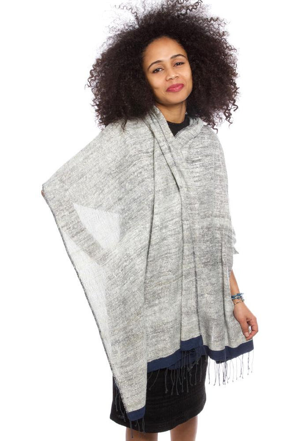 Swahili African Modern Ethiopian Stella Shawl with Blue Border Swahili African Modern
