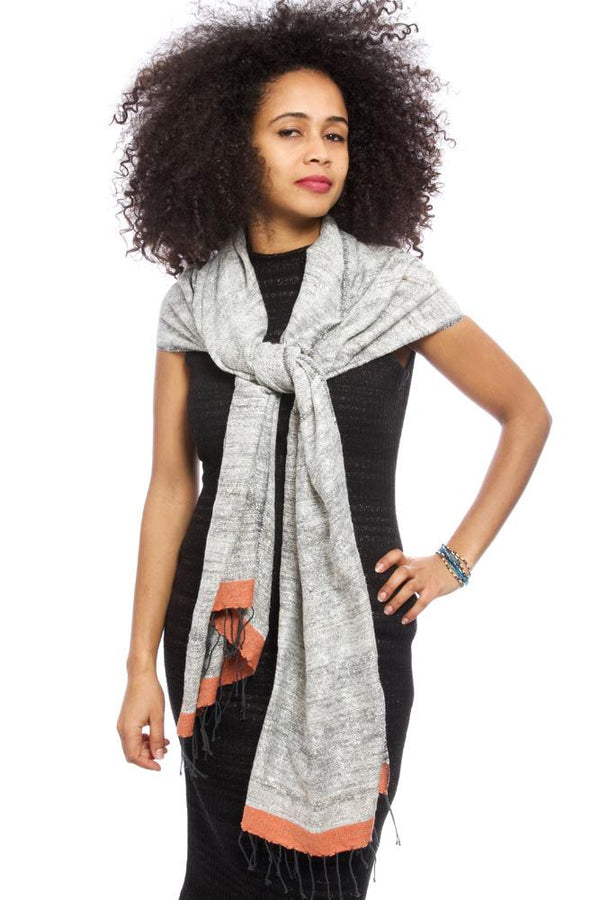 Swahili African Modern Ethiopian Stella Shawl with Coral Border Swahili African Modern
