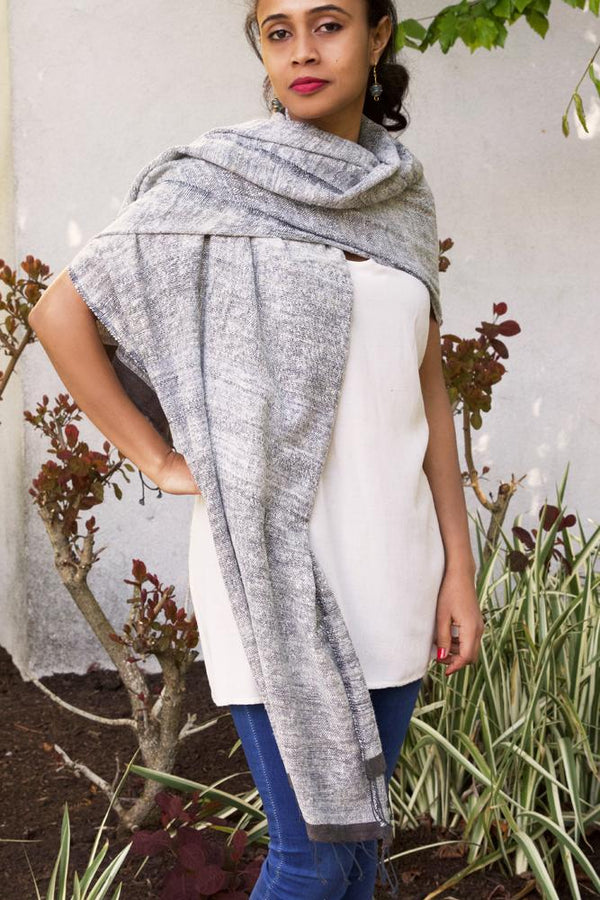 Swahili African Modern Ethiopian Stella Shawl with Gray Border Swahili African Modern