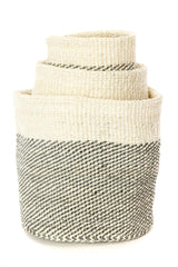 Swahili African Modern Gray and Cream Twill Nesting Baskets - Set of 3 Swahili African Modern -14999733338175