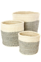 Swahili African Modern Gray and Cream Twill Nesting Baskets - Set of 3 Swahili African Modern -14999763124287