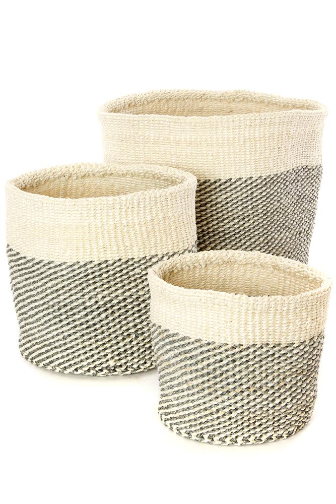 Swahili African Modern Gray and Cream Twill Nesting Baskets - Set of 3 Swahili African Modern