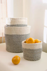 Swahili African Modern Gray and Cream Twill Nesting Baskets - Set of 3 Swahili African Modern -14999762239551