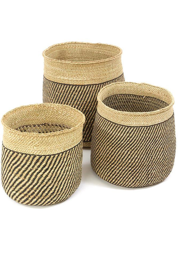 Swahili African Modern Iringa Baskets - Black Diagonal Stripes Swahili African Modern