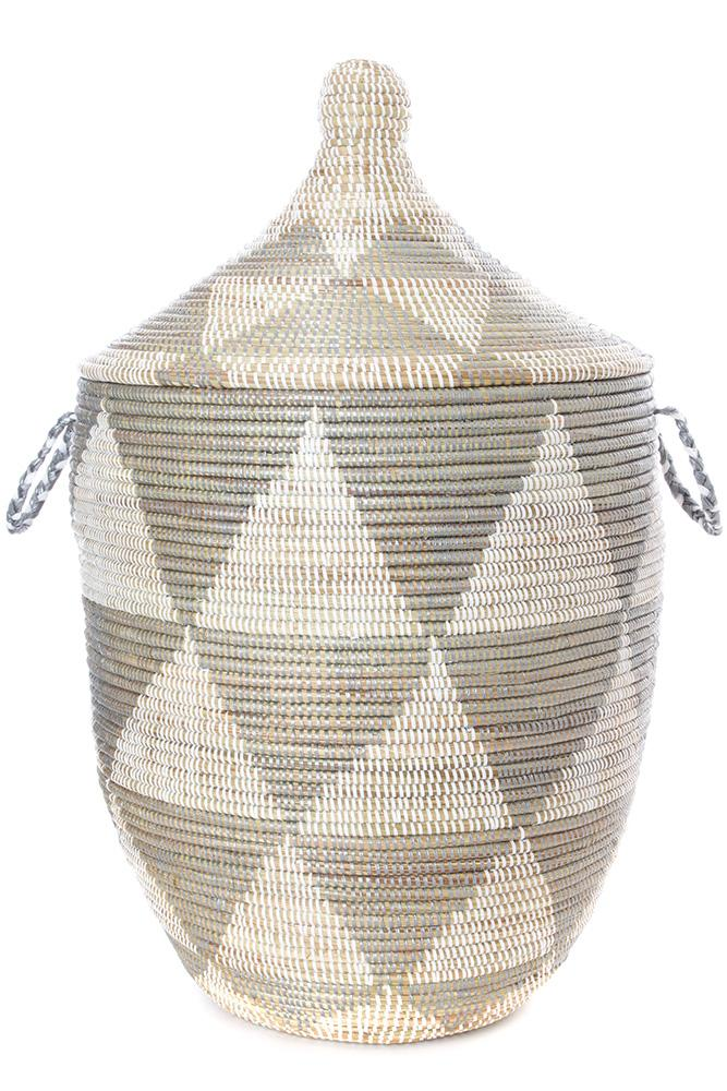 Swahili African Modern Large Silver Triangle Laundry Hamper Swahili African Modern
