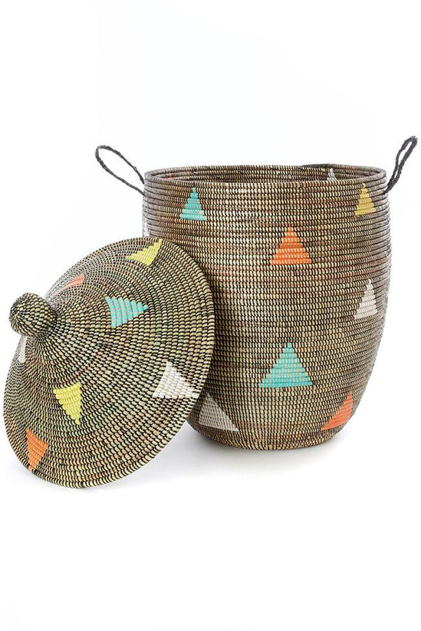 Swahili African Modern Large Teranga Triangles Hamper Basket Swahili African Modern