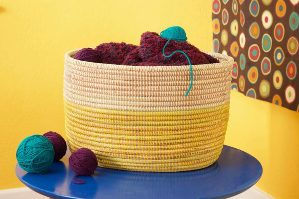 Swahili African Modern Lemon Dipped Knitting Basket Made Trade