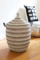 Swahili African Modern Medium Black, Silver & White Striped Laundry Hamper Swahili African Modern -13194675126335