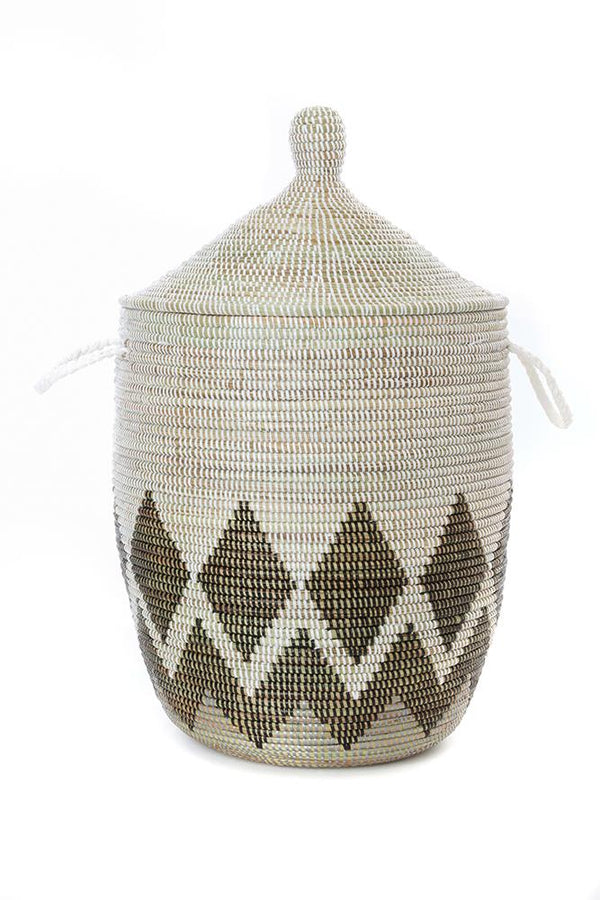 Swahili African Modern Medium Gem Border Laundry Hamper Basket Swahili African Modern
