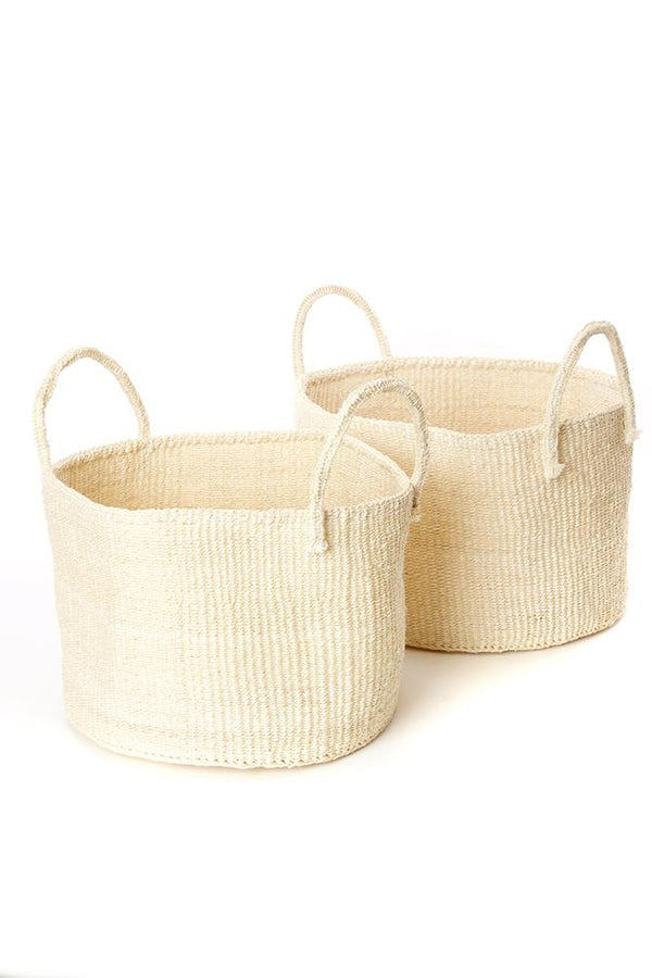 Swahili African Modern Natural Sisal Kamba Floor Basket Swahili African Modern