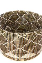 Swahili African Modern Nesting Diamond Design Baskets - Set of 3 Swahili African Modern -14999733403711