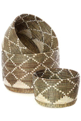 Swahili African Modern Nesting Diamond Design Baskets - Set of 3 Swahili African Modern -14999753162815