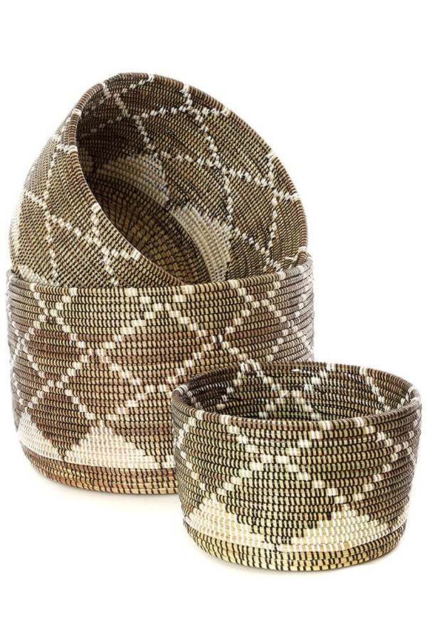 Swahili African Modern Nesting Diamond Design Baskets - Set of 3 Swahili African Modern