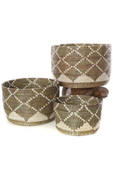 Swahili African Modern Nesting Diamond Design Baskets - Set of 3 Swahili African Modern -14999750934591