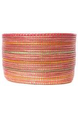 Swahili African Modern Pink Knitting Basket with Orange and Silver Stripes Swahili African Modern -14634703290431