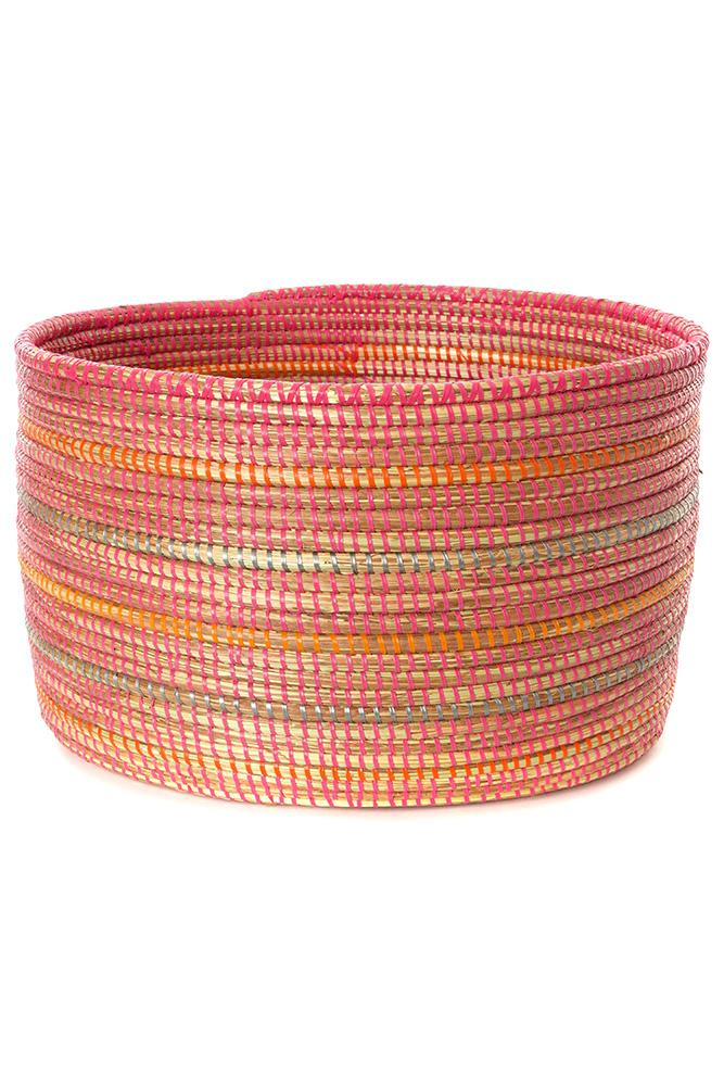 Swahili African Modern Pink Knitting Basket with Orange and Silver Stripes Swahili African Modern