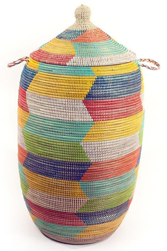 Swahili African Modern Rainbow Herringbone Storage Basket Swahili African Modern