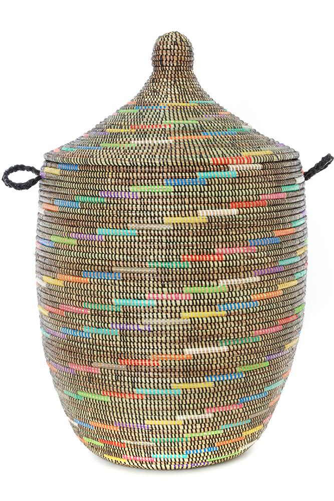 Swahili African Modern Sable Swirl Large Laundry Hamper Basket Swahili African Modern