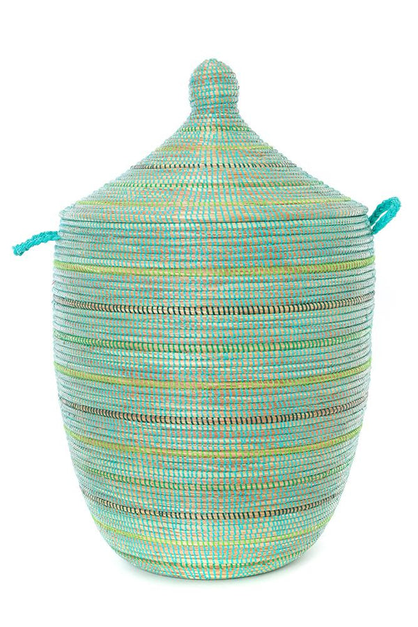 Swahili African Modern Seaside Stripes Large Laundry Hamper Basket Swahili African Modern