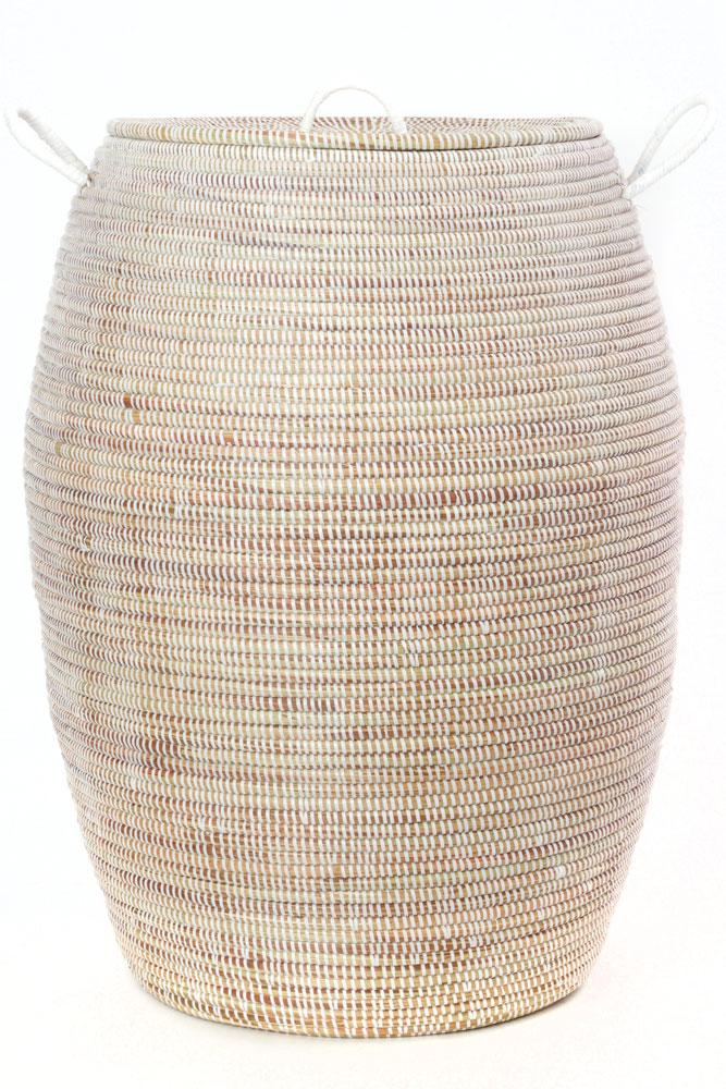 Swahili African Modern Senegalese Tall White Bongo Hamper Basket Swahili African Modern