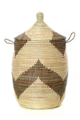 Swahili African Modern Set of Three Black and Beige Mixed Pattern Hampers Swahili African Modern-5010207146047