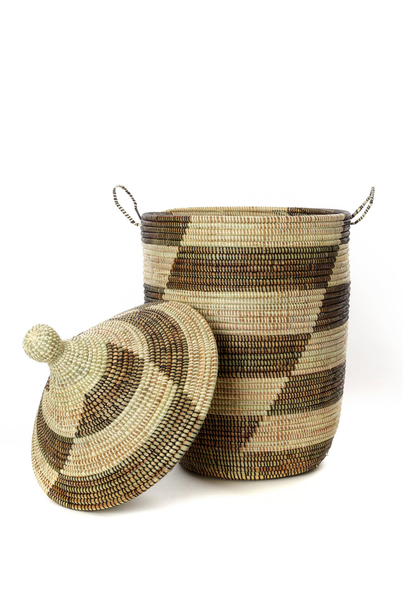 Swahili African Modern Set of Three Black and Beige Mixed Pattern Hampers Swahili African Modern