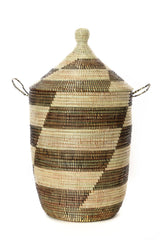 Swahili African Modern Set of Three Black and Beige Mixed Pattern Hampers Swahili African Modern-5010462113855