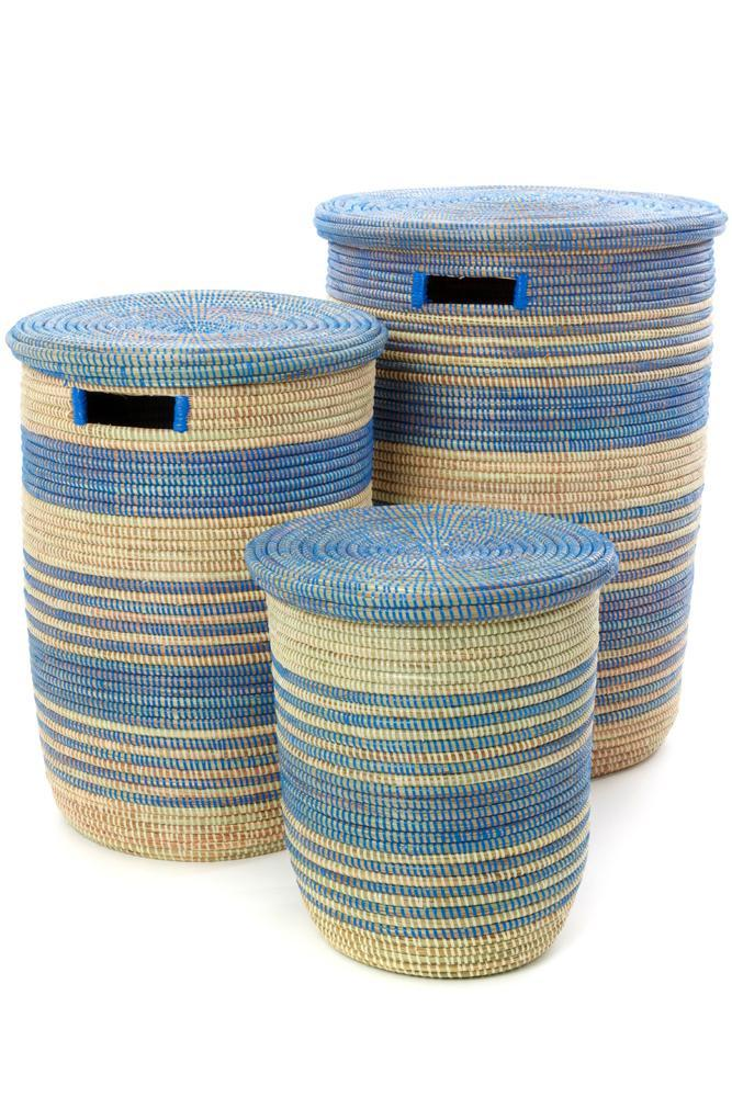 Swahili African Modern Set of Three Blue Ebb & Flow Striped Hampers Swahili African Modern