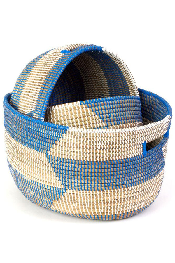 Swahili African Modern Set of Three Blue Herringbone Sewing Baskets Swahili African Modern