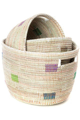 Swahili African Modern Set of Three Prismatic Pixels Sewing Baskets Swahili African Modern-11737199018047