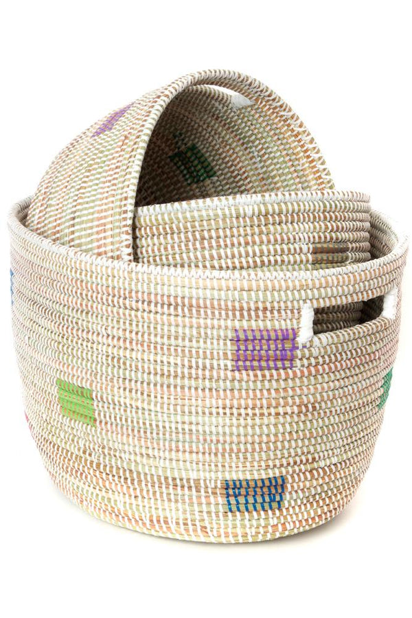 Swahili African Modern Set of Three Prismatic Pixels Sewing Baskets Swahili African Modern