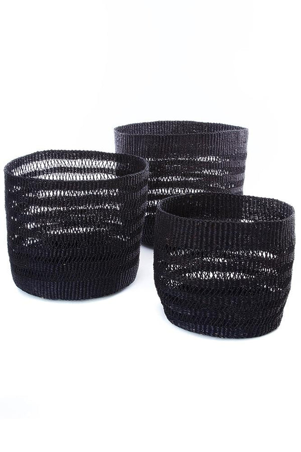 Swahili African Modern Set of Three Raven Veta Vera Lace Weave Basket Bins Swahili African Modern