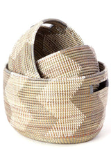 Swahili African Modern Set of Three Silver and White ZigZag Nesting Baskets Swahili African Modern-11400104673343