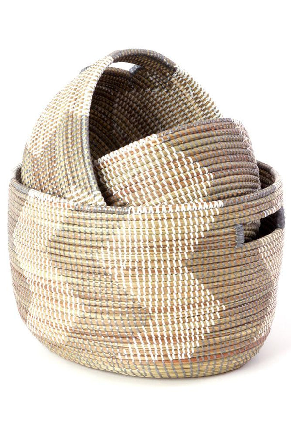 Swahili African Modern Set of Three Silver and White ZigZag Nesting Baskets Swahili African Modern
