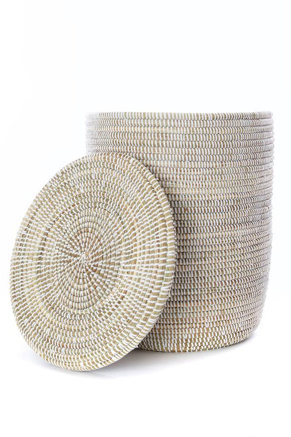 Swahili African Modern Set of Three Solid White Classic Hampers Swahili African Modern