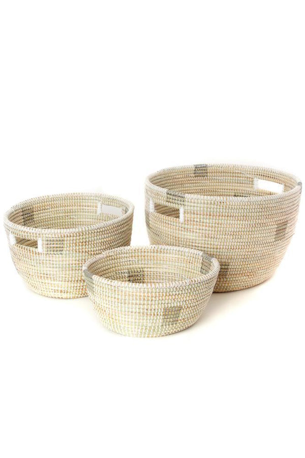 Swahili African Modern Set of Three White Block Print Prayer Mat Sewing Baskets Swahili African Modern