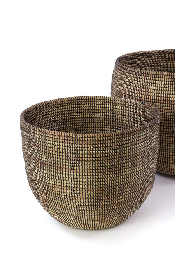 Swahili African Modern Set of Two Black Deep Nesting Baskets Swahili African Modern