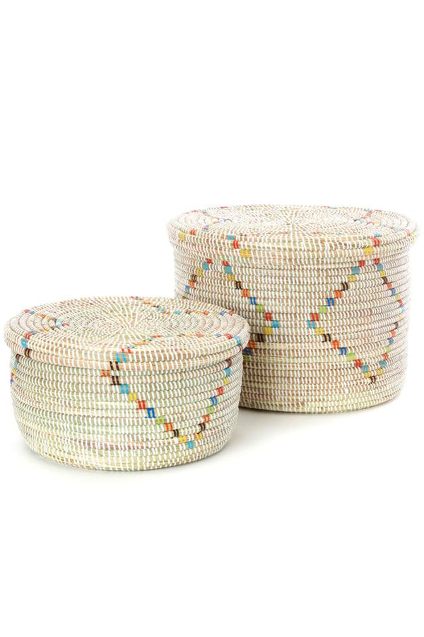 Swahili African Modern Set of Two Rainbow Garland Lidded White Storage Baskets Swahili African Modern