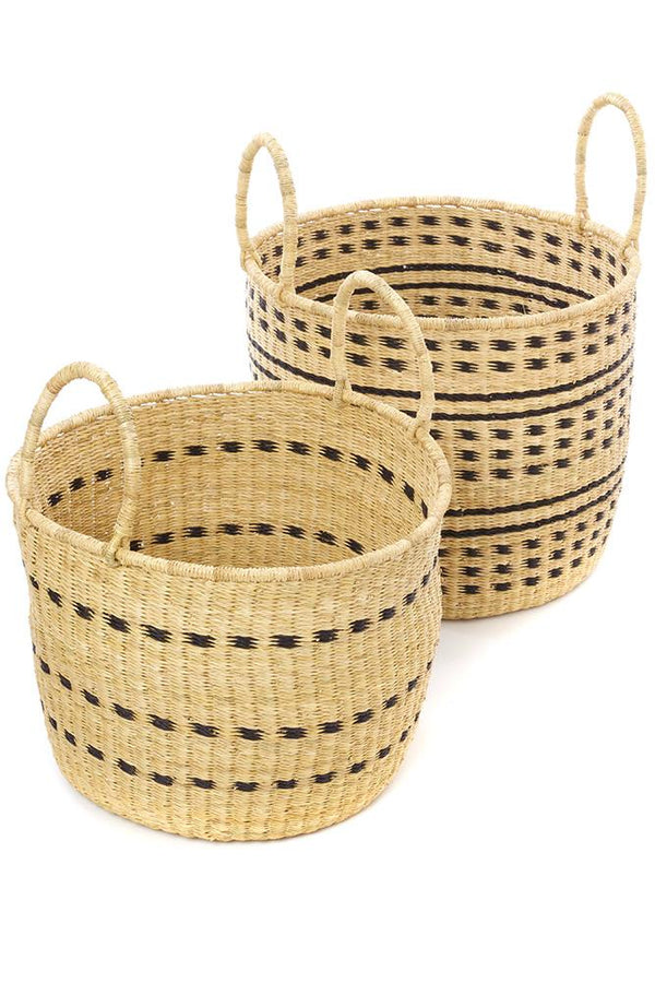 Swahili African Modern Set of Two Raven Flecked Elephant Grass Baskets Swahili African Modern