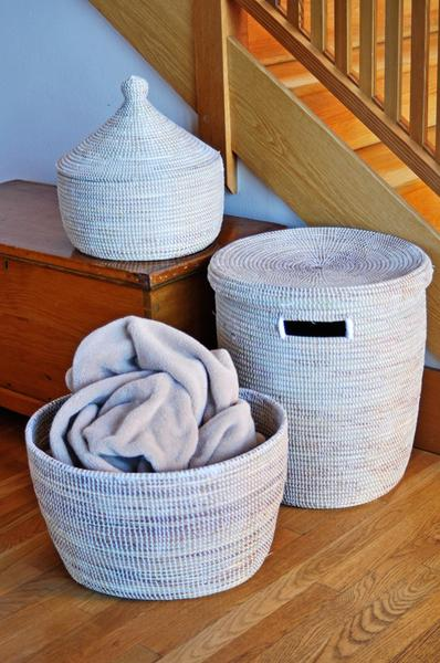 Swahili African Modern Solid White Knitting Basket Swahili African Modern