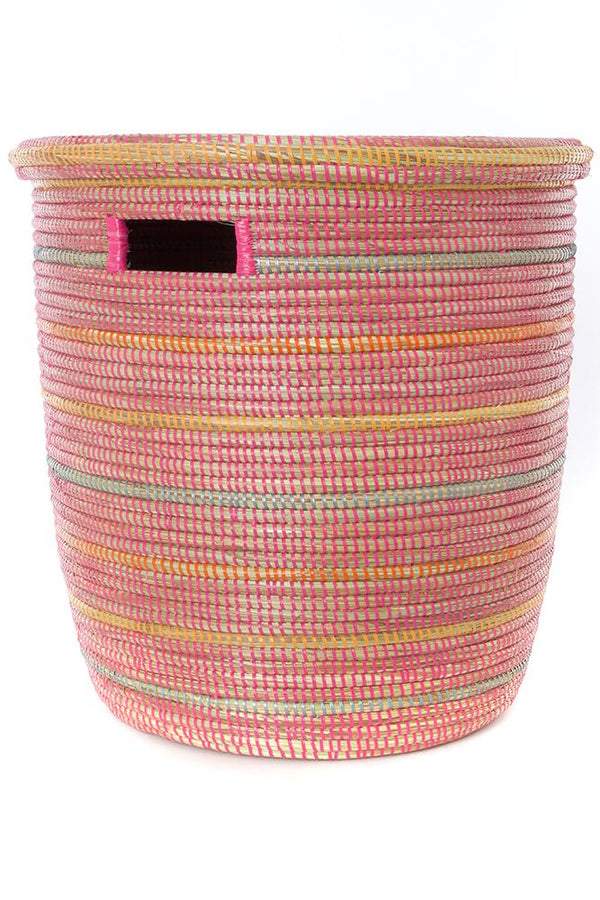 Swahili African Modern Sunrise Stripes Flat Lid Storage Basket Swahili African Modern