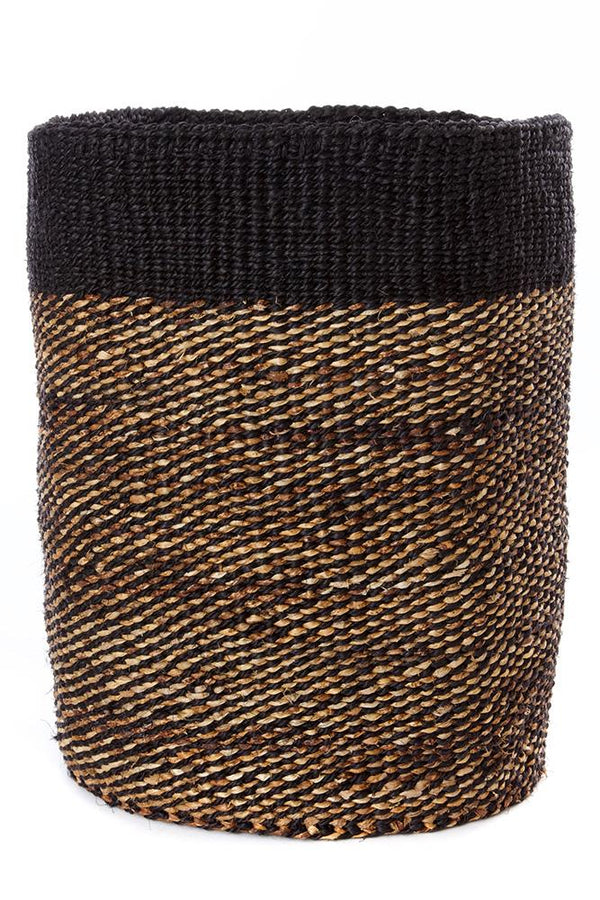 Swahili African Modern Tall Black Sisal and Banana Fiber Twill Basket Swahili African Modern