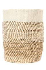 Swahili African Modern Tall Natural Sisal and Banana Fiber Twill Basket Swahili African Modern -14999749361727