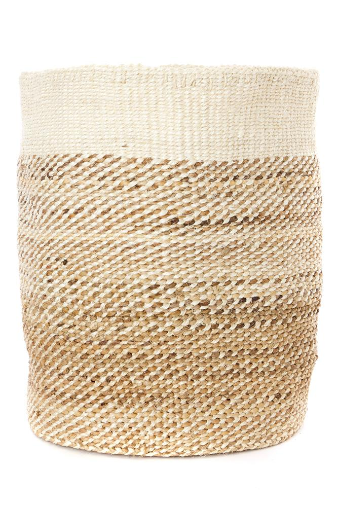 Swahili African Modern Tall Natural Sisal and Banana Fiber Twill Basket Swahili African Modern