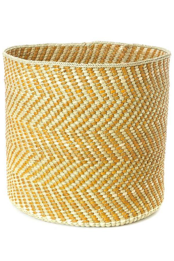 Swahili African Modern Yellow and Natural Maila Milulu Reed Basket Swahili African Modern